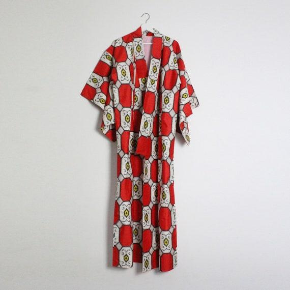 Geometric Print Silk Kimono - image 1