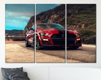 Canvas Picture Canvas Print Wall Art Black Mustang Ford NR 3454