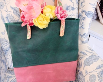 Large leather hand stitched shopping tote