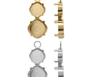 Sterling Silber Platz Verbinder für Kleben SWAROVSKI 4470 10mm Kristall