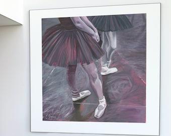 Ballet Dancers Art Print by Emily Brown, Digital Download, Printable Wall Art, Vibrant Oil Painting.