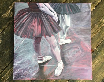 Ballerinas Oil Painting by Emily Brown 40x40cm - original painting - stretched deep edge square canvas