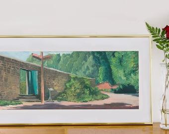 Mrs Churchill's Rose Garden, Art Print by Emily Brown, Winston Churchill, Panoramic, Digital Download, Printable Wall Art, Painting, Kent.