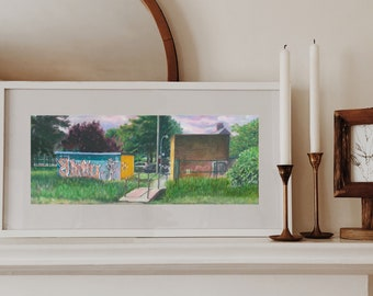 """Graffiti on Chesham Moor, Art Print by Emily Brown, """"We need UNITY"""", Panoramic, Digital Download, Printable Wall Art, Painting, Chilterns."""