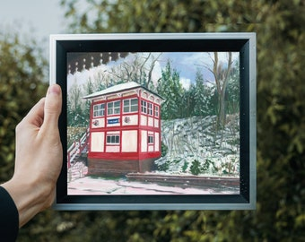 Signal Box in Snow by Emily Brown, Art Print, Digital Download, Printable Wall Art, Painting, Underground Station, Chesham, Buckinghamshire.
