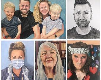 Custom Portrait, Oil Painting - Families, children, pets, couples, individuals, weddings - original painting - various sizes available