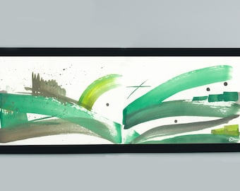 Abstract Landscape Art Print by Emily Brown, Digital Download, Printable Wall Art, Ink Painting, Chilterns.
