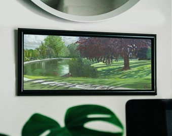 Lowndes Park Pond & Cone, Art Print by Emily Brown, Panoramic, Digital Download, Printable Wall Art, Painting, Chesham, Chilterns, British.