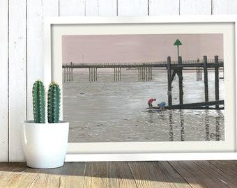 Southend Pier, Art Print, Digital Download, British Seaside, Printable Wall Art, Painting. Southend-On-Sea