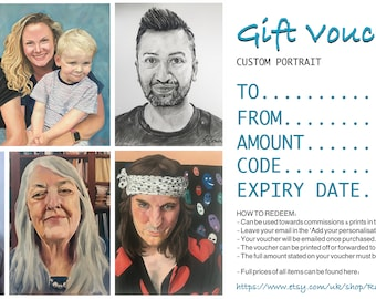 Gift Voucher for Custom Portrait by RatherNiceArt , Oil Painting - Families, children, pets, couples, individuals, weddings.