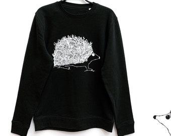Organic Cotton Sweater Hedgehog (size M) | Sustainable Unisex Pullover Sweatshirt with Original Hand-Drawn Art Print | Idle Patterns