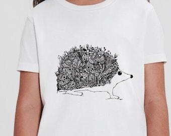 Children's Hedgehog T-shirt  (3-4, 5-6 years) | Organic Cotton Sustainable White | Original Hand-Drawn Art | Moon | Idle Patterns | Doodle