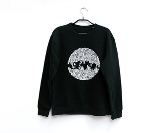 Organic Cotton Sweater (size M) | Sustainable Unisex Pullover Sweatshirt with Original Hand-Drawn Art Print  | Jaw | Idle Patterns | Doodle