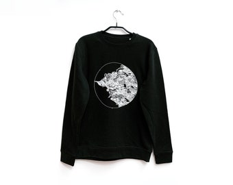 Original Mandala Sweater (S, M, L) | Organic Unisex Pullover Sweatshirt | Hand-Drawn Art Print  | Moon | Idle Patterns | Doodle