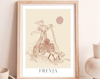 Freyja Print, Nordic goddess, Viking art print, Norse pagan, Freya altar, Viking goddess, North mythology, Viking woman, Scadinavian folk