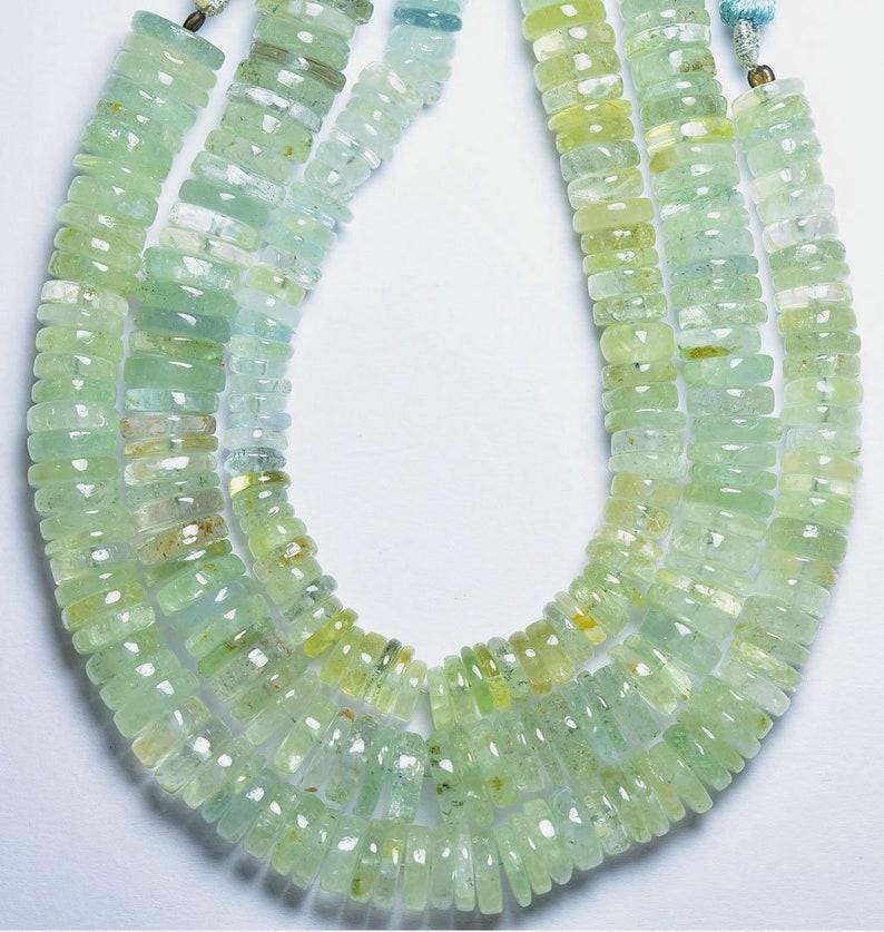 1 Full Strand---Multi Aquamarine Smooth Wheels Tyre Shape Beads----9mm to 11mm----Natural Gemstone----N32