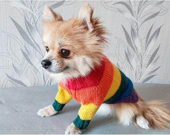 Small dog clothes — Gay pride dog sweater — Rainbow dog sweater — Pride Martingale dog sweater — LGBTQ dog sweater — Gay pride gifts
