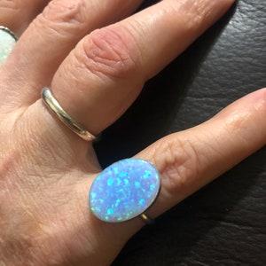 Simple Fire Opal RingTeardrop RingStackable Opal RingSterling SilverHandmade JewelryMade In USA