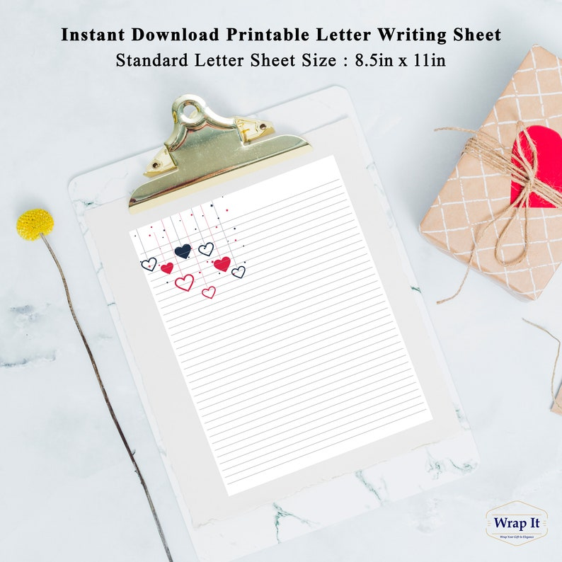 Wrap It Printable lined letter writing sheet Ruled love letter paper
