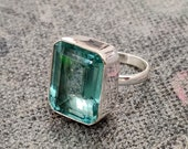 Aquamarine Ring, Silver Band Ring, 925 Sterling Silver, Gemstone Ring, Promised Ring, Popular Ring, Handmade Ring, Women Ring, Gift For Her