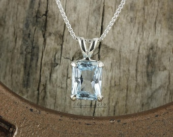 Top Natural Ocean Blue Aquamarine Pendant Necklace Jewelry For Woman Man Crystal 19x14x9mm Beads Stone 925 Silver Chains