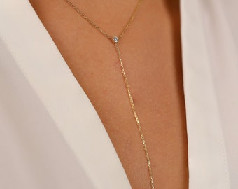 Y necklace  14K Gold vermeil  14K rose gold vermeil  Sterling Silver  Gold Y necklace  Silver Lariat necklace  Simple Chain lariat