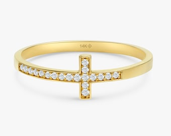 Handmade Cross Ring Solid Gold Cross Ring 14k Cross Ring in Yellow or Rose Solid Gold