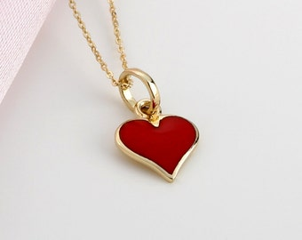Gold Filled Chain Necklace 14k Gold Red Enamel Heart Charm Necklace