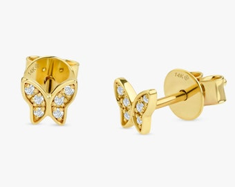 Third Hole Earrings  Sarah Elise 14k Gold Labradorite Stud Earrings  Kalia  Bezel Setting  Solid Gold  Natural Gemstone  Second