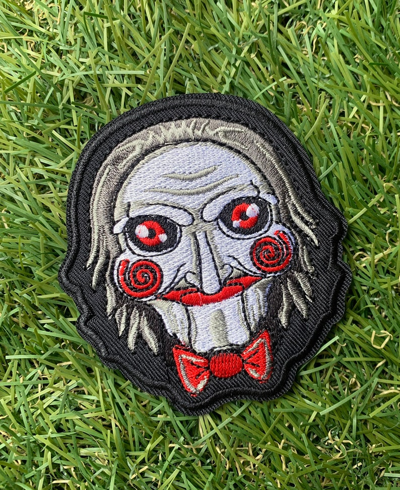 Serial Killer   Jigsaw   Horror Movie   Halloween   Doll   Scary   Murder   Play Game Saw Billy The Puppet Iron-On Embroidered Patch Badge