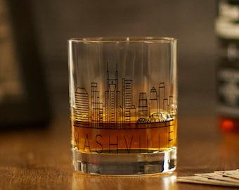 NASHVILLE, TN Skyline Rocks Glass - Whiskey Glass