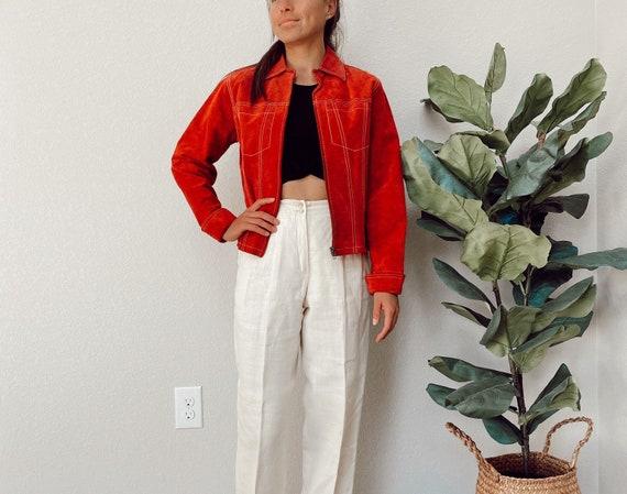 Vintage Red Suede Jacket, Vintage Suede, Red Suede
