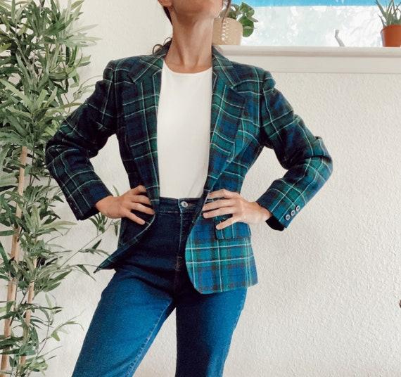 Vintage Pendleton Blazer, 100% Wool Plaid Blazer,