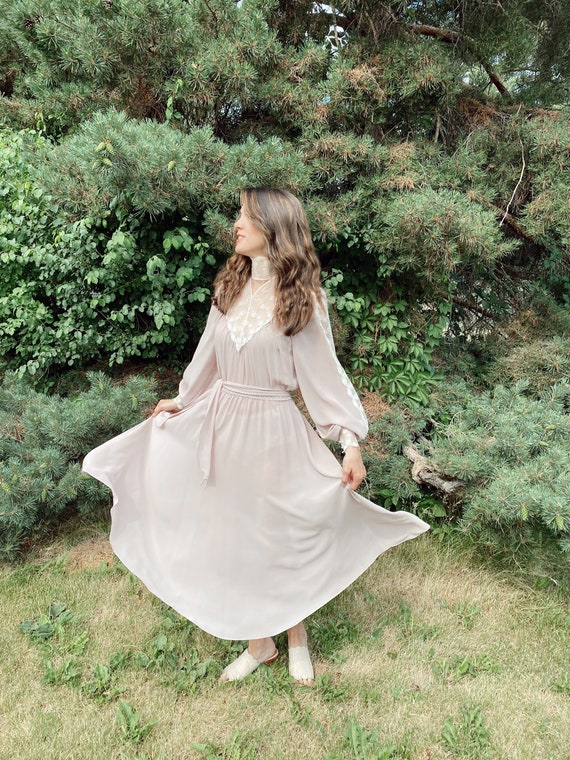 Vintage Sheer Lavender Gown, 1970's Gunne Sax Ins… - image 6