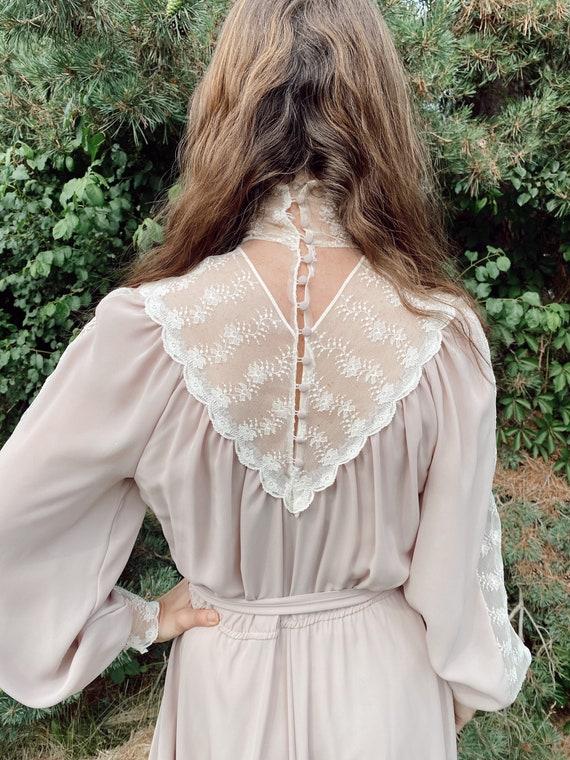 Vintage Sheer Lavender Gown, 1970's Gunne Sax Ins… - image 2