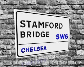 STAMFORD BRIDGE SW6  Chelsea  Vintage Style Wooden Street Sign White