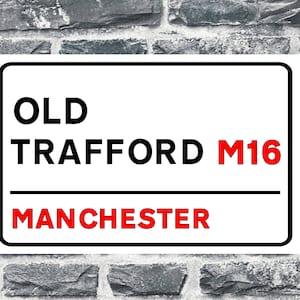 Sretford End Old Trafford  Style Metal Sign Football  Vintage Sign Reds Fan Gift