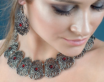 Statement necklace, silver necklace, Turkish necklace, chunky necklace, Victorian necklace, boho necklace, vintage necklace, gift for her