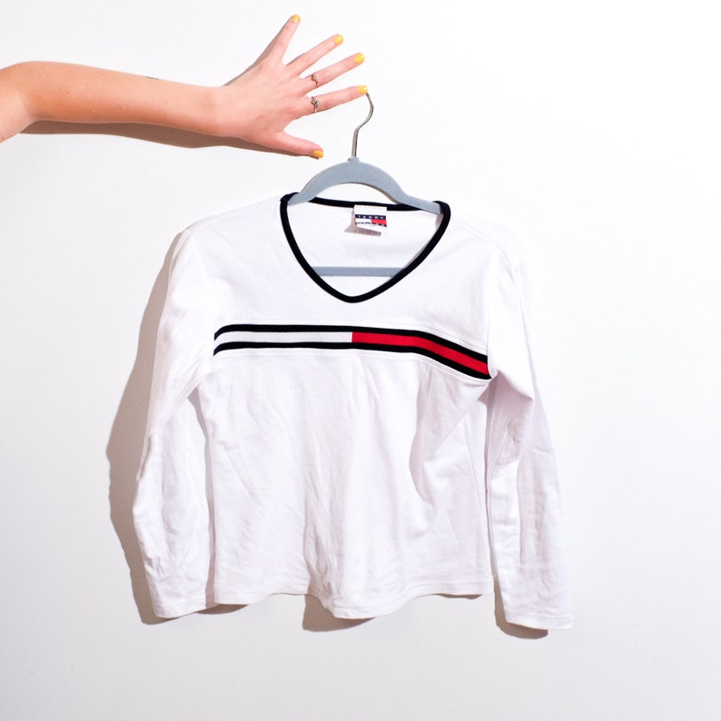 Vintage Tommy Hilfiger flag shirt white long sleeve shirt