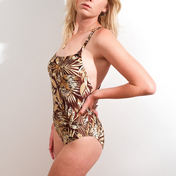 Vintage swimsuit/bodysuit, brown floral one piece,
