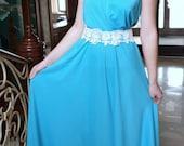 Grecian style maxi dress, blue long dress, one shoulder dress , Grecian Style Dress, Chiffon bridesmaid dress blue, blue party dress