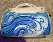 French Connection Handbag - genuine. Custom Hand-painted, handbag, white leather, art work, wave design or castle looking over a beach