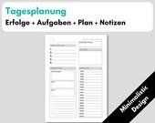 Tagesplanung 1T1S Kalendereinlagen, Erfolgsjournal, Prioritäten, Filofax Organizer Planer, Tagesübersicht, Download, Minimalistic Design
