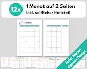 Monatsübersicht A5 1M2S Kalendereinlagen undatiert, Monatsplanung, Filofax Organizer Planer, Download