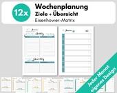 Wochenübersicht A5 1W1S Kalendereinlagen undatiert  + Wochenziele Eisenhower, Wochenplanung, Filofax Organizer, Erfolgsjournal, Download