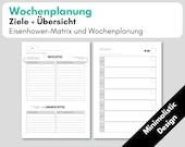 Wochenplanung, A5 1W1S Kalendereinlagen undatiert  + Wochenziele Eisenhower, Filofax Organizer, Erfolgsjournal, Minimalistic Design Download
