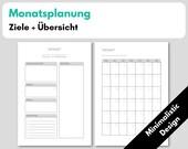 Monatsplanung, A5 1M1S Kalendereinlagen undatiert + Monatsziele + Deckblatt, Filofax Organizer Planer, Minimalistic Design, Download