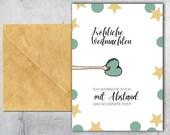 Corona Weihnachtskarte 5er Set zum Ausdrucken, mit Abstand das schönste Fest, lustige Weihnachtskarte, Karte mit Herz, Download