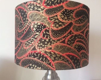New! Japanese fabric lampshade in black , gold and red
