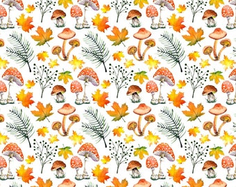 Jersey Fabric - Forest Walk - Leaves & Mushrooms